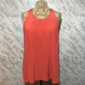 Joie Silk Tank Top Racerback Coral Pink Size Large